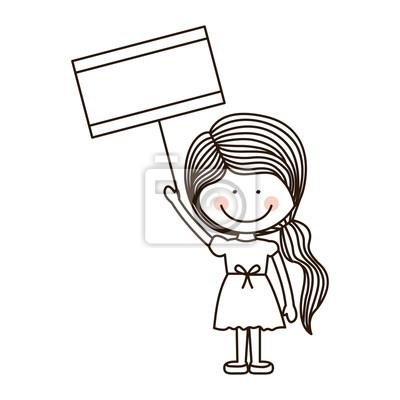 df3b5a9df161bd Fototapeta sylwetka dziewczyna trzyma plakat z ilustracji wektorowych kucyk
