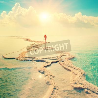 Fototapeta Sylwetka młodej kobiety chodzenia na Morza Martwego