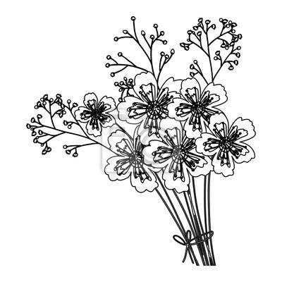 Fototapeta Sylwetka Piękny Bukiet Kwiatów Kwiatowy Motyw Kwiatowy I Motyw