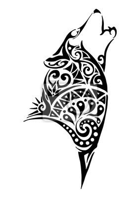 Fototapeta Sylwetka Wilk Wycie Głowy Tribal Design Tatuaż Na Ramię Lub Nogę