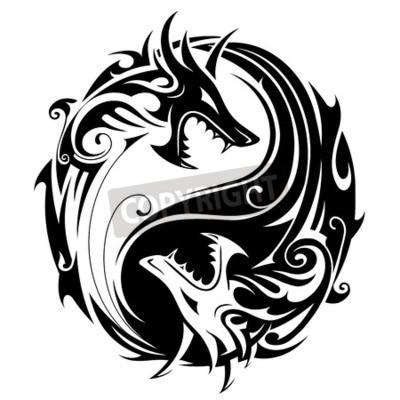Symbol Tatuaż Yin Yang W Kształcie Dwóch Smoków Walki Fototapeta