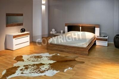 Fototapeta Sypialnia W Stylu Szarego Z Dużym łóżkiem