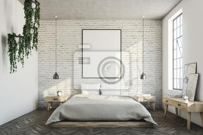 Fototapeta Sypialnia Z Białej Cegły Plakat