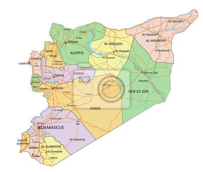 Syria Bardzo Szczegolowe Edycji Polityczna Mapa Etykietowania