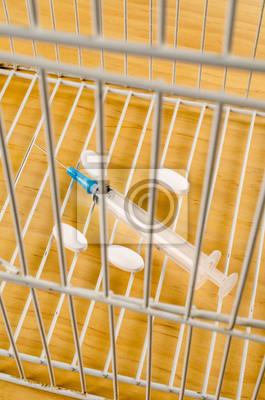 Fototapeta Syringe in a cage