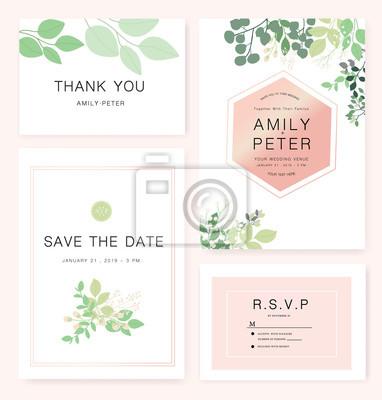 Szablon Zaproszenia ślubne Z Przykładowy Tekst Fototapeta