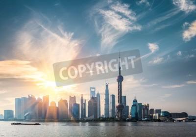 Fototapeta Szanghaj w słoneczny dzień, huangpu rzeki i Pudong skyline
