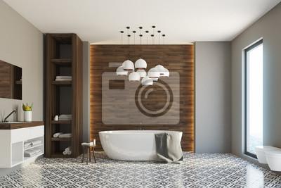 Fototapeta Szara I Drewniana łazienka