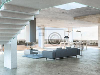 Fototapeta Szara sofa z widokiem na taras
