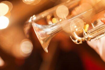 Fototapeta Szczegół zbliżenie trąbce w złocistych barwach