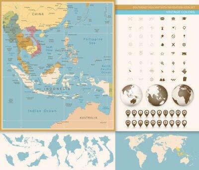 Fototapeta Szczegółowa mapa Azji Południowo-Wschodniej z nawigacją Icon Set.