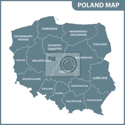 Szczegolowa Mapa Polski Z Regionami Lub Panstwami Fototapeta
