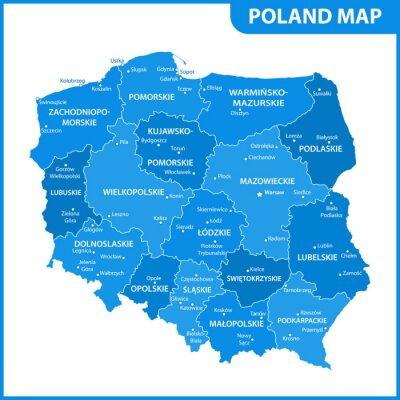 Szczegolowa Mapa Polski Z Regionami Lub Stanami I Miastami