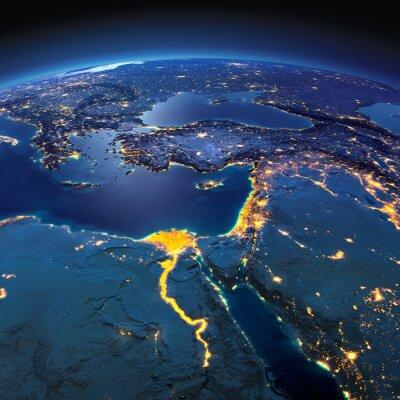 Fototapeta Szczegółowe Ziemi. Afryka i Bliski Wschód w księżycową noc