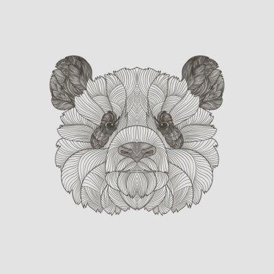 Fototapeta Szczegółowo zentangle. Boho ręcznie rysowane stile panda portret. ilustracji wektorowych.