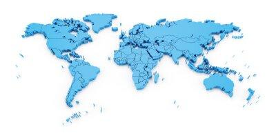 Fototapeta Szczegółowość map świata z granicami państwowymi, 3d
