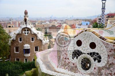 Szczegóły Park Guell w Barcelonie, Hiszpania