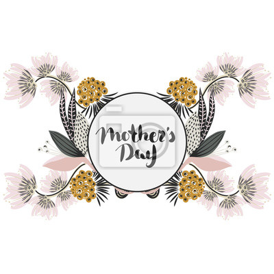 Fototapeta Szczęśliwego Dnia Matki Litery W Ramce Wiosenne Wakacje Floral