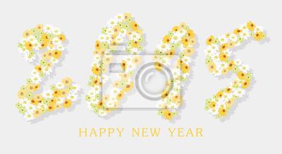 Fototapeta Szczęśliwego nowego roku z kwiatem
