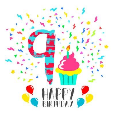Świeże Szczęśliwy kartka urodzinowa do 9 lat dziecko partii zabawy sztuką DG01