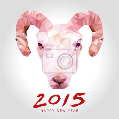 Fototapeta Szczęśliwy wektor koza roku wielokąta