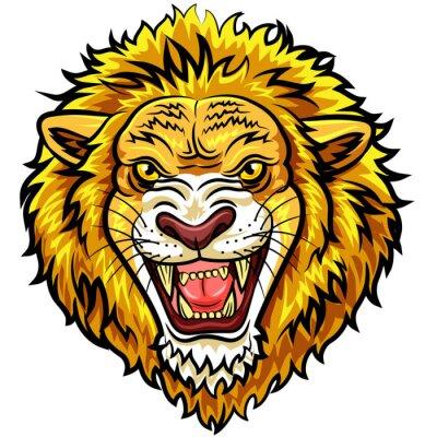 Fototapeta Szef Cartoon wściekły lew maskotką