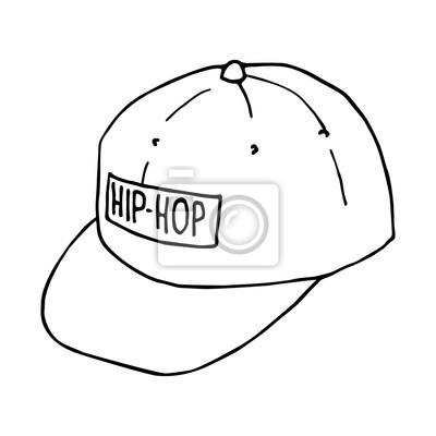 7fd152fca49288 Fototapeta Szkic czapki z daszkiem. nakrycia głowy Hip-hop. Vector  izolowanych obraz.