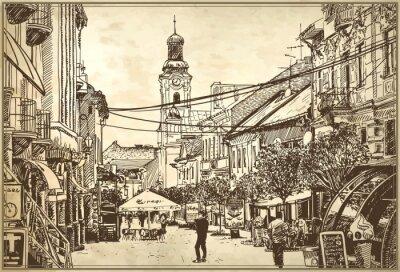Fototapeta szkic ilustracji wektorowych Użgorodzie pejzaż