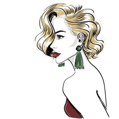 Fototapeta szkic klasycznej blond kobieta z falami włosów