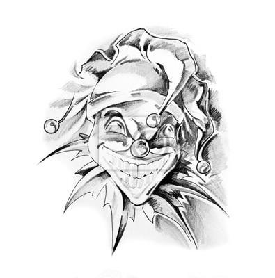 Szkic Sztuki Tatuażu Błazen Joker Fototapeta Fototapety Smok