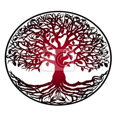 Szkic Tatuaż Drzewo życia Czerwony Gradient Drzewo Z Korzeniami