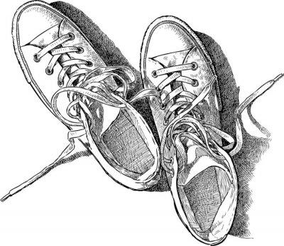 756c6df61df13 Szkic trampki Fototapeta • Fototapety topview, sznurowadło, sneaker ...