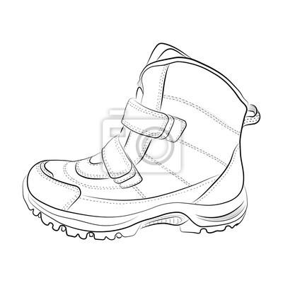f015f35f3b917 Fototapeta Szkic zimowych kobiet i dziecięcych butów na białym tle.  Ilustracji wektorowych.