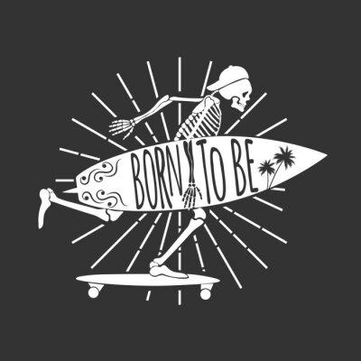 Fototapeta Szkielet Surfer. Logo. Urodzony, by być. Ilustracji wektorowych
