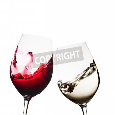 Fototapeta szklanki czerwonego i białego wina izolowane