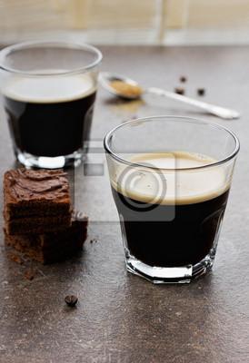 Fototapeta Szkło espresso z ciasto czekoladowe