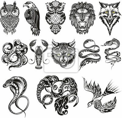 Fototapeta Sztuka Ilustracja Wzór Tatuaż Czarny Kwiatowy Rysunek