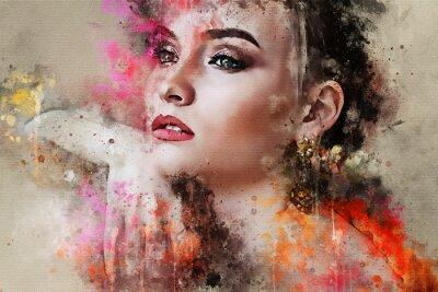 Fototapeta Sztuka kolorowy naszkicowane piękny streszczenie twarz dziewczyna portret na kolorowym tle w cyfrowy akwarela mieszane media styl słowo moda styl model