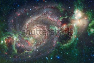 Fototapeta Sztuka kosmosu. Mgławice, galaktyki i jasne gwiazdy w pięknym składzie. Elementy tego obrazu dostarczone przez NASA