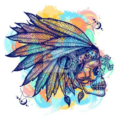 Fototapeta Sztuka Tatuaż Indyjski Kolor Czaszki Symbol Wojownika Native