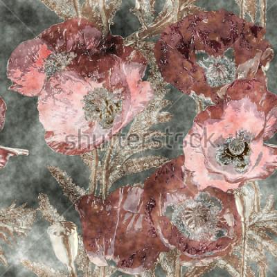 Fototapeta sztuka vintage akwarela kolorowy kwiatowy wzór z ciemne czerwone Maki, liści i traw na tle