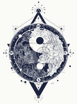 Sztuka Wektor Tatuaż Yin I Yang Medytacyjna Sztuka Tatuażu Yin