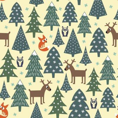 Fototapeta Szwu Boże Narodzenie - zróżnicowane Xmas drzewa, domy, lisy, sowy i jelenie. Happy New Year background. wektor wzoru na ferie zimowe. Dziecko styl rysowania przyroda las ilustracji.