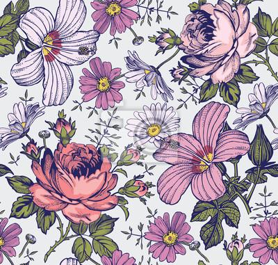 a179453f60016b Fototapeta Szwu. Piękne różowe kwiaty kwitnące realistyczne samodzielnie.  Archiwalne tła. Rumianek Rose hibiskusa