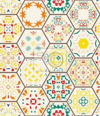 Fototapeta Szwu. Zabytkowe elementy dekoracyjne. Ręcznie rysowane tła. Islam, arabskie, indyjskie, otomana motywy. Idealna do druku na tkaninie lub papierze. Płytka sześciokątna konstrukcja geometryczna. ilustra