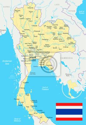Tajlandia Mapa I Flaga Ilustracji Fototapeta Fototapety