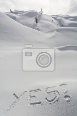 Fototapeta TAK napisane w śniegu