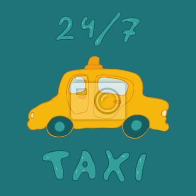 Fototapeta Taksówki znak, bo samochód, ilustracji wektorowych