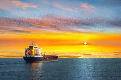 Fototapeta Tanker ship on calm sea in the morning.