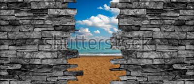 Fototapeta Tapeta krajobrazowa sufit 3D ściany z kamienia